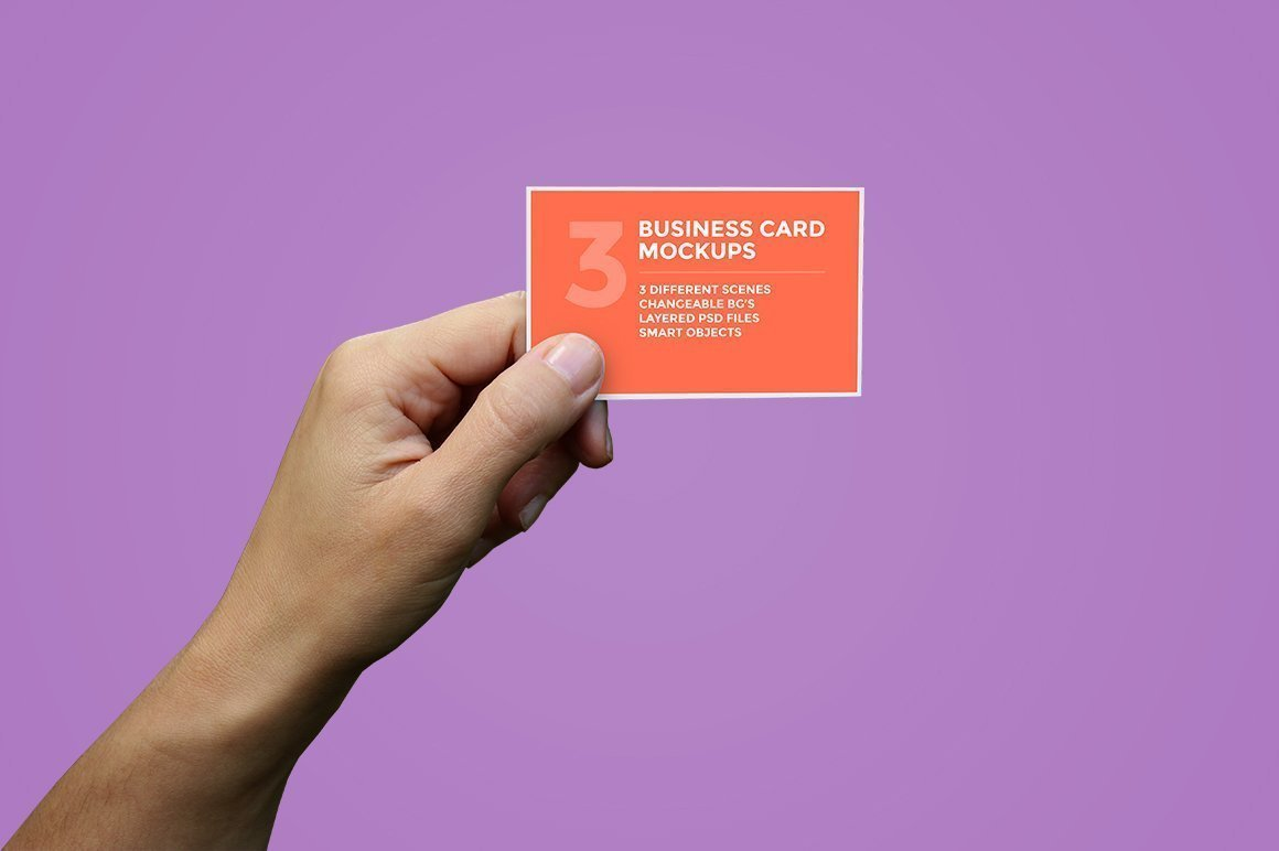 hand holding business card psd mockup download